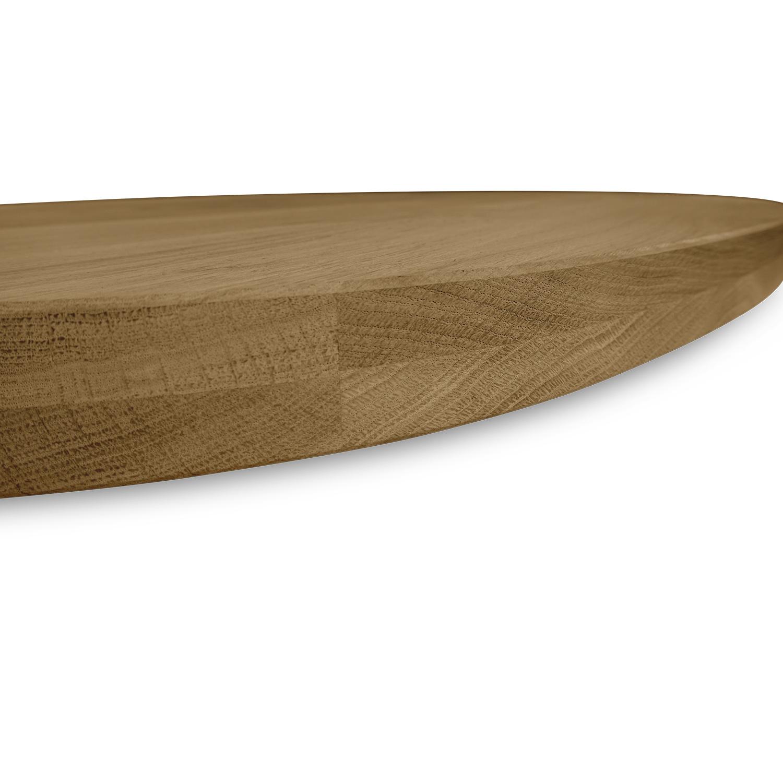Ovaal eiken tafelblad - 4 cm dik (2-laags) - Foutvrij Europees eikenhout - GEBORSTELD & GEROOKT - diverse ellips maten - verlijmd kd 8-12%