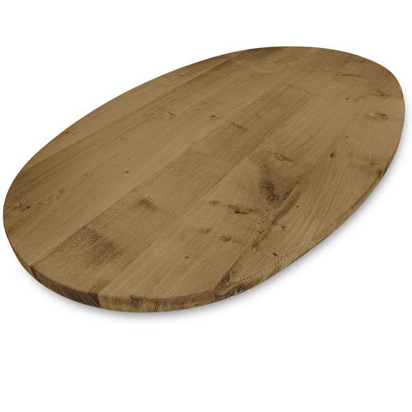 Ovaal eiken tafelblad - 3 cm dik (1-laag) - rustiek eikenhout - GEBORSTELD & GEROOKT
