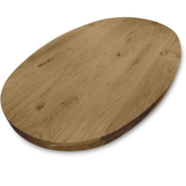 Ovaal eiken tafelblad - 6 cm dik (3-laags) - GEBORSTELD & GEROOKT - rustiek Europees eikenhout - diverse ellips maten - verlijmd kd 8-12%