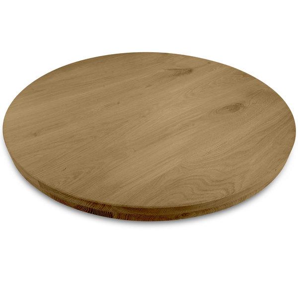 Rond eiken tafelblad op maat - 4 cm dik (2-laags) - foutvrij eikenhout - GEBORSTELD & GEROOKT