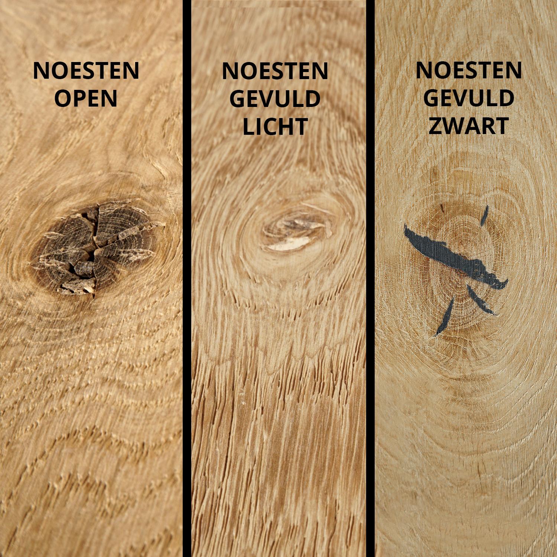 Eiken tafelblad met ronde hoeken - op maat - 4 cm dik (1-laag) - rustiek Europees eikenhout - GEBORSTELD - verlijmd kd 8-12% - 50-120x50-300 cm  - Afgeronde hoeken radius 5, 8, of 10 cm
