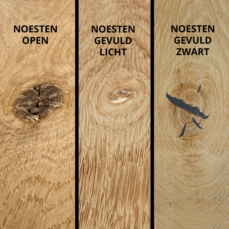 Eiken tafelblad met ronde hoeken - op maat - 3 cm dik (1-laag) - rustiek Europees eikenhout - GEBORSTELD - verlijmd kd 8-12% - 50-120x50-300 cm  - Afgeronde hoeken radius 5, 8, of 10 cm