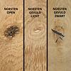 Eiken  tafelblad rustiek verjongd - op maat - 4 cm dik (2-laags) - met verjongde rand - rustiek Europees eikenhout - verlijmd kd 8-12% - 50-120x50-350 cm - GEBORSTELD