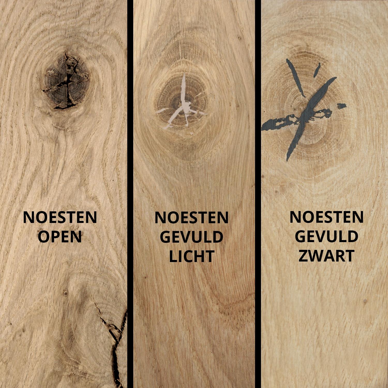 Eiken  tafelblad verjongd - op maat - 4 cm dik (1-laag) - met verjongde rand - rustiek Europees eikenhout - verlijmd kd 8-12% - 50-120x50-350 cm