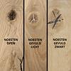 Eiken wandplank zwevend - op maat - 4 cm dik (1-laag) - rustiek - voorgeboord inclusief (blinde) bevestigingsbeugels - verlijmd Europees eikenhout rustiek - kd 8-12% - 15-27x50-300 cm