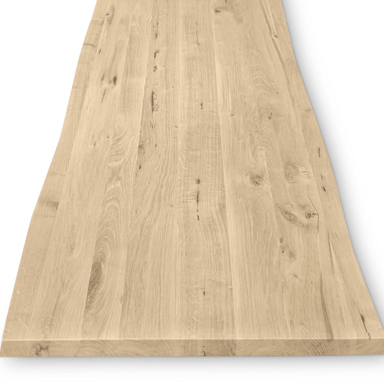 Eiken boomstam tafelblad op maat - 4 cm dik (1-laag) - met boomstam rand / waankant LOOK -rustiek Europees eikenhout - verlijmd kd 8-12% - 50-120x50-350 cm