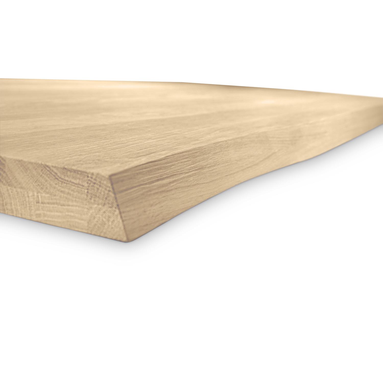 Eiken boomstam tafelblad op maat - 4 cm dik (2-laags) - met boomstam rand / waankant LOOK - foutvrij Europees eikenhout - verlijmd kd 8-12% - 50-120x50-350 cm