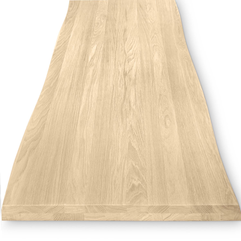 Eiken boomstam tafelblad op maat - 4 cm dik (2-laags) - met boomstam rand / waankant LOOK - foutvrij Europees eikenhout - verlijmd kd 8-12% - 50-120x50-300 cm - GEBORSTELD