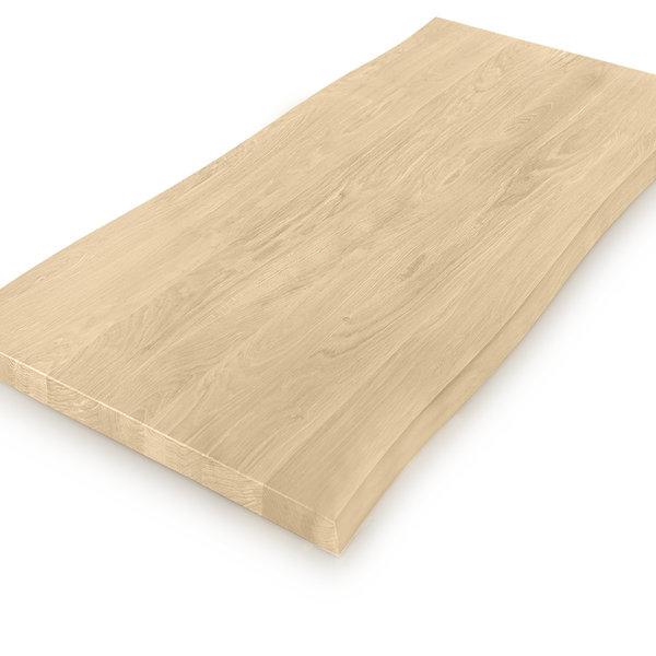 Eiken boomstam tafelblad op maat - 4 cm dik (massief) - foutvrij eikenhout - GEBORSTELD