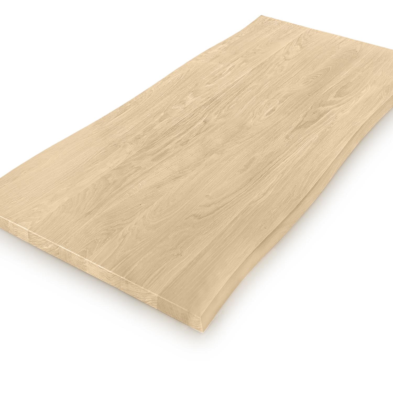 Eiken boomstam tafelblad - op maat - 3 cm dik (massief) - met boomstam rand / waankant LOOK - foutvrij Europees eikenhout - verlijmd kd 8-12% - 50-120x50-350 cm  - GEBORSTELD