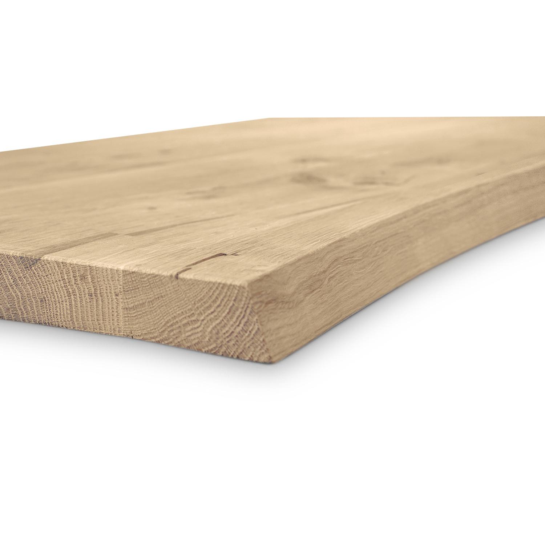Eiken boomstam tafelblad op maat - 4 cm dik (massief) - met boomstam rand / waankant LOOK -rustiek Europees eikenhout - verlijmd kd 8-12% - 50-120x50-350 cm - GEBORSTELD
