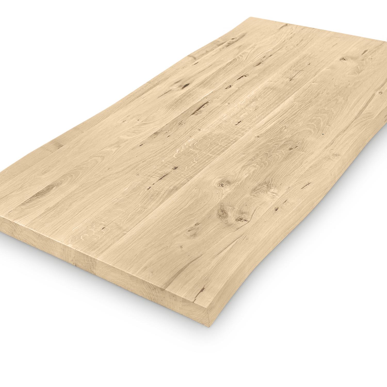 Eiken boomstam tafelblad op maat - 4 cm dik (1-laag) - met boomstam rand / waankant LOOK -rustiek Europees eikenhout - verlijmd kd 8-12% - 50-120x50-300 cm - GEBORSTELD