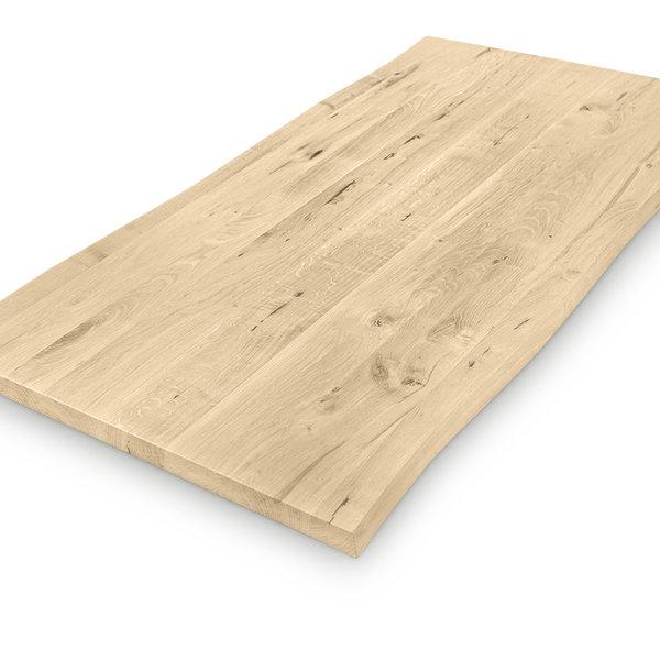 Eiken boomstam tafelblad - op maat - 3 cm dik (1-laag) - rustiek eikenhout - GEBORSTELD