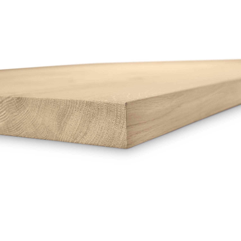 Eiken blad / paneel op maat - 4 cm dik (1-laag) - BREDE LAMEL (min 10 cm) - Foutvrij Europees eikenhout - GEBORSTELD - verlijmd kd 8-12% - met een minimale lamelbreedte van 10 cm - 60-120x60-300 cm