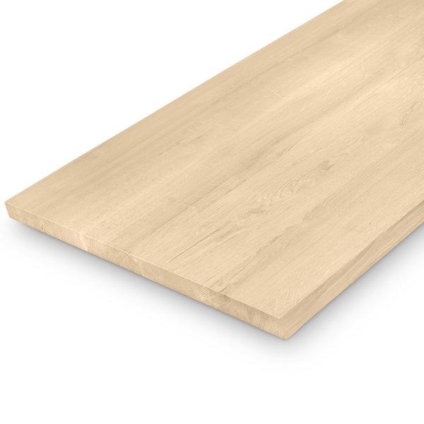 Eiken (tafel)blad op maat - 4 cm dik (1-laag) - BREDE LAMEL (min. 10 cm) - foutvrij eikenhout - Geborsteld