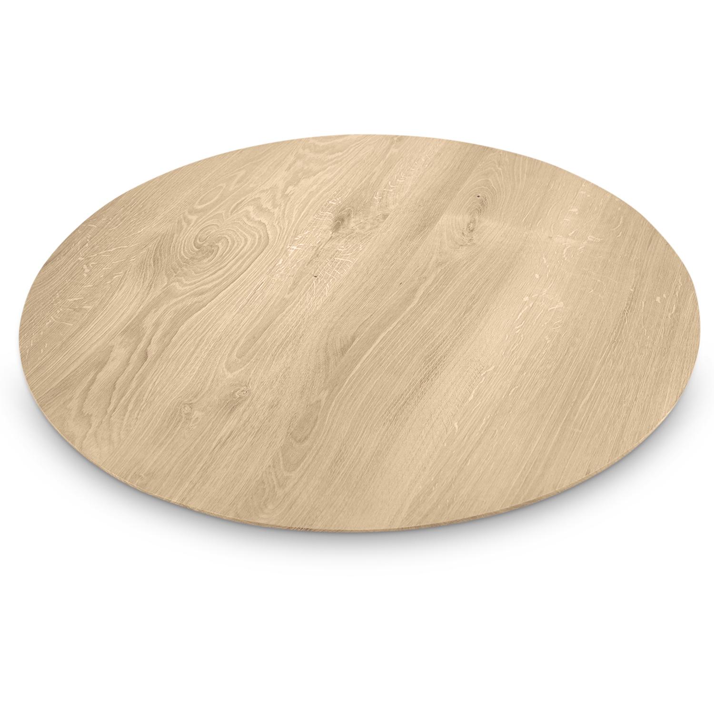 Eiken (horeca) tafelblad rond - VERJONGD - 3 cm dik (1-laag) - Diverse afmetingen - Rustiek Europees eikenhout - verlijmd kd 10-12% - met verjongde / afgeschuinde rand