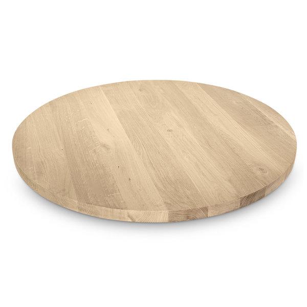 Eiken (horeca) tafelblad rond - 4 cm dik (1-laag) - rustiek eikenhout - GEBORSTELD