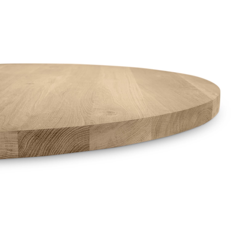 Eiken tafelblad rond - 4 cm dik (1-laag) - Diverse afmetingen - Rustiek Europees eikenhout - verlijmd kd 10-12%