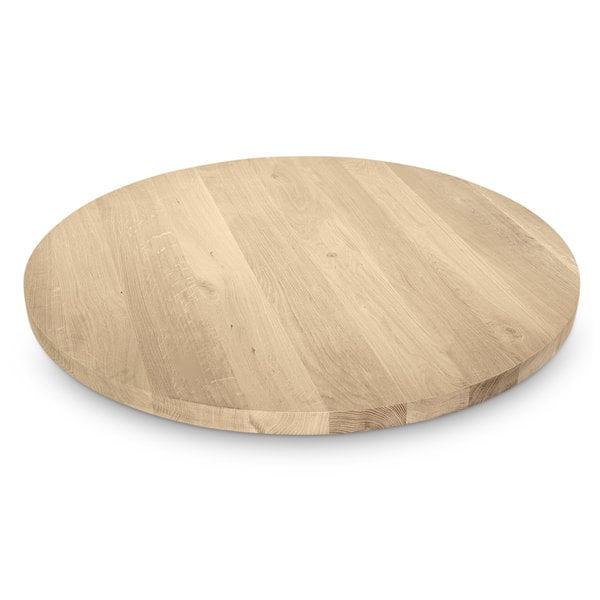 Eiken tafelblad rond - 4 cm dik (1-laag) - Rustiek eikenhout