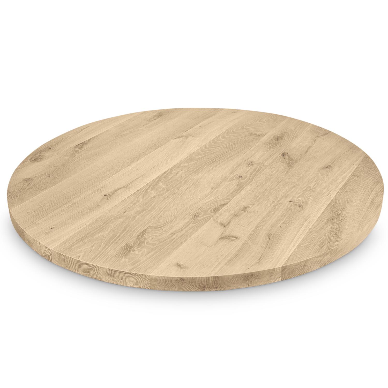 Eiken tafelblad rond - 4,5 cm dik (1-laag) - Diverse afmetingen - Extra rustiek Europees eikenhout GEBORSTELD - verlijmd kd 10-12%