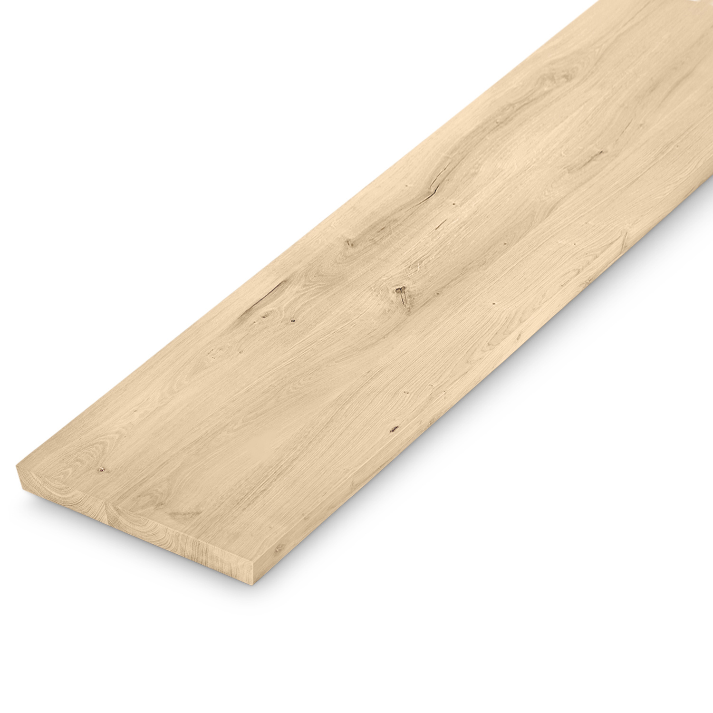 Eiken bankblad - 40x160-300- 4 cm dik (massief) - extra rustiek Europees eikenhout - verlijmd kd 10-12% - blad voor (eetkamertafel)bankje