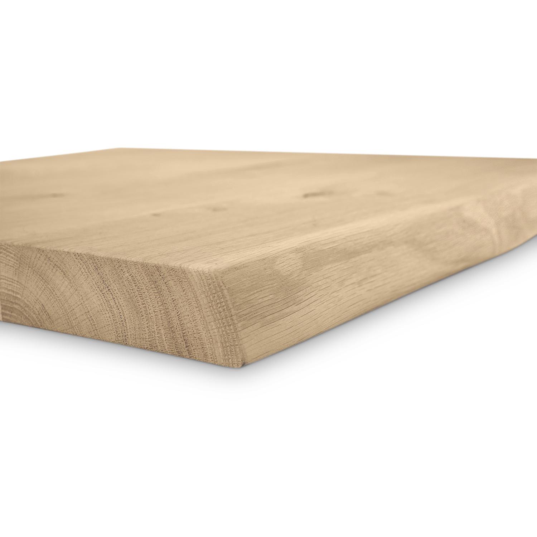Eiken (horeca) boomstam tafelblad vierkant - 4 cm dik (1-laag) - diverse afmetingen - extra rustiek Europees eikenhout met boomstamrand / schorsrand / waankant - verlijmd kd 10-12%