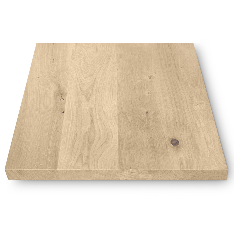 Eiken (horeca) tafelblad vierkant - 4 cm dik (massief) - diverse afmetingen - extra rustiek Europees eikenhout - Diverse afmetingen - Horecablad vierkant - verlijmd kd 10-12% - optioneel geborsteld en V-groeven