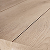 Eiken boomstam(rand) tafelblad LUXE (3 lamellen) - 4.5 cm dik (1-laag) - diverse afmetingen - extra rustiek Europees eikenhout met schorsrand / waankant - geborsteld + V-groeven - verlijmd kd 10-12%