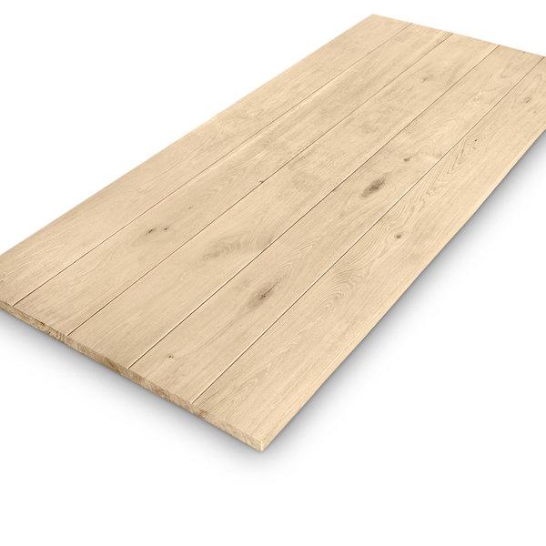 Eiken tafelblad + V-GROEVEN - 4,5 cm dik (1-laag) - extra rustiek eikenhout - GEBORSTELD