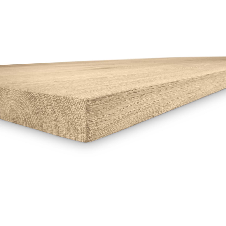 Eiken tafelblad - 4,5 cm dik (1-laag) - diverse afmetingen - extra rustiek Europees eikenhout - GEBORSTELD +  V-GROEVEN - verlijmd kd 10-12%