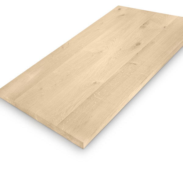 Eiken (horeca) tafelblad rechthoekig - 4 cm dik (massief) - diverse afmetingen - extra rustiek eikenhout