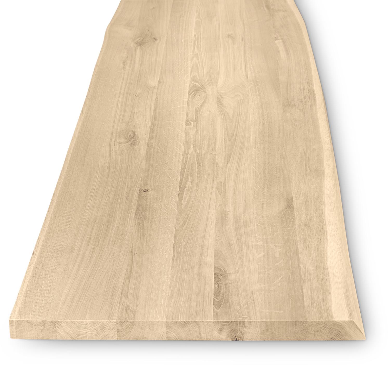 Eiken boomstam(rand) tafelblad rechthoek - 4 cm dik (1-laag) - Diverse afmetingen - extra rustiek Europees eikenhout met schorsrand / waankant - verlijmd kd 10-12%