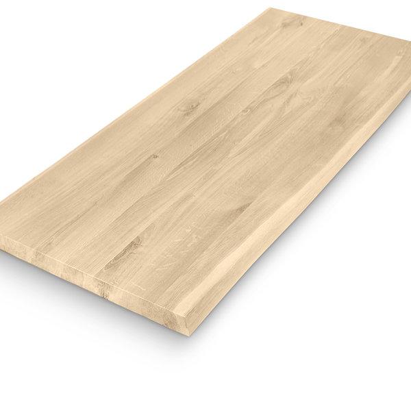 Eiken (horeca) boomstam tafelblad rechthoek - 4 cm dik (1-laag) - diverse afmetingen - extra rustiek eikenhout