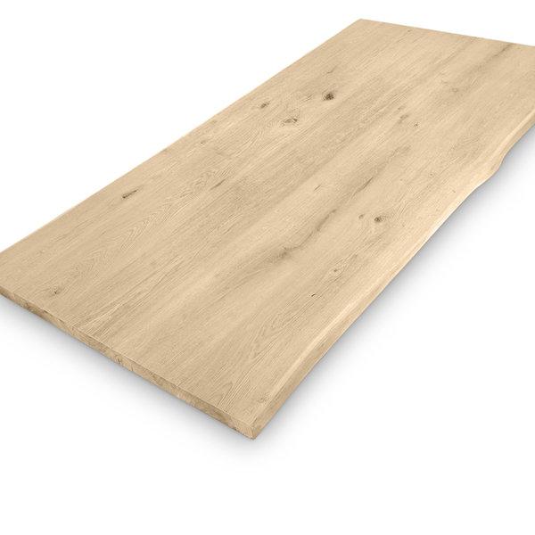 Eiken boomstam tafelblad - 3 cm dik (1-laag) - extra rustiek eikenhout - GEBORSTELD