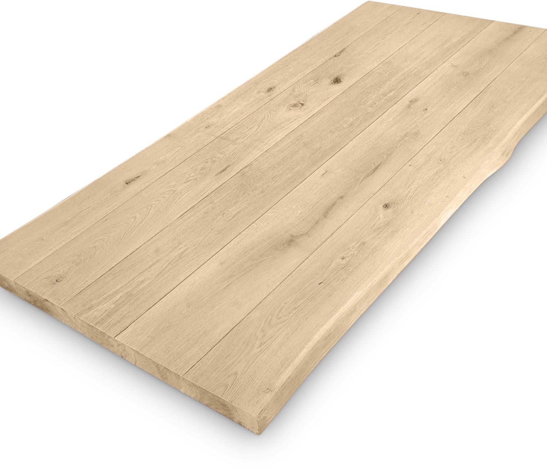 Eiken boomstam(rand) tafelblad - 4,5 cm dik (1-laag) - Diverse afmetingen - extra rustiek Europees eikenhout - GEBORSTELD + (optioneel) V-GROEVEN met schorsrand / waankant - verlijmd kd 10-12%