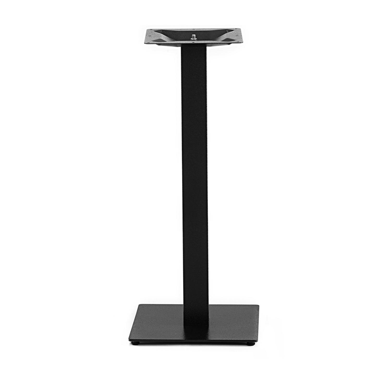 Gietijzeren statafel onderstel vierkant zwart - op voet - 8x8 cm - 108 cm hoog - 40x40 cm (voet)plaatafmeting - Zwart gecoat (fijnstructuur)