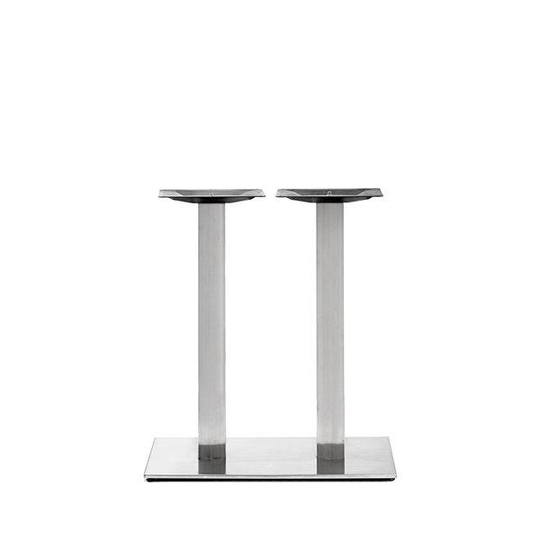 Gietijzeren (horeca)tafel onderstel DUO vierkant RVS look - 8x8cm - 72 cm hoog - 40x80 cm (voet)plaatafmeting - Gecoat