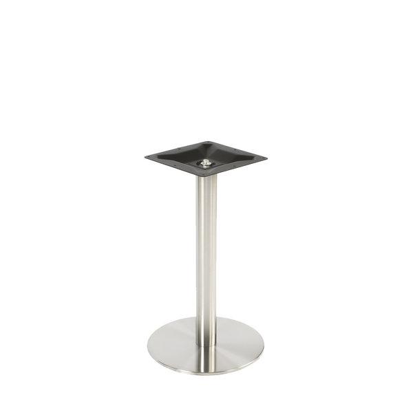 Gietijzeren (horeca)tafel onderstel rond RVS look - diameter 8cm - 72 cm hoog - diameter 43 cm (voet)plaatafmeting - Gecoat