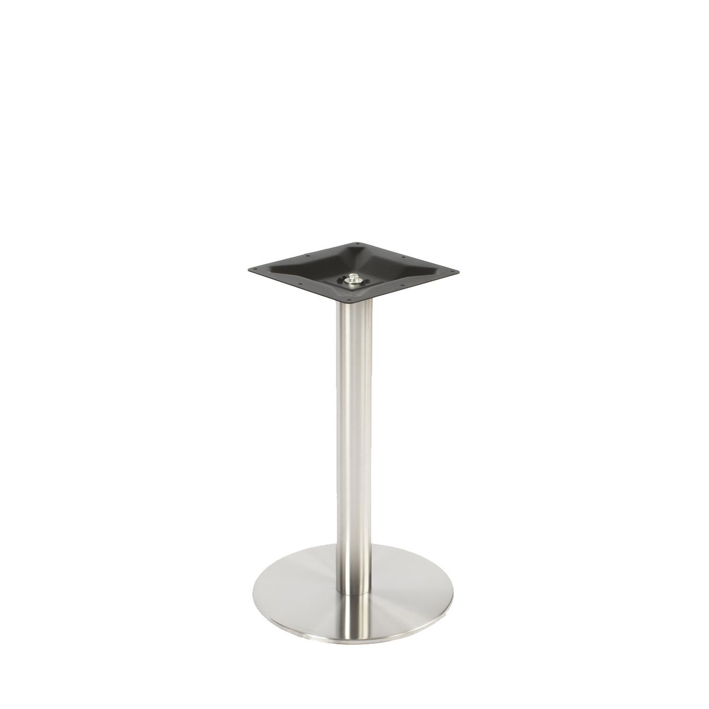 Gietijzeren (horeca)tafel onderstel rond RVS look - op voet - diameter 8 cm - 72 cm hoog - diameter 43 cm (voet)plaatafmeting - RVS look (glad) gecoat