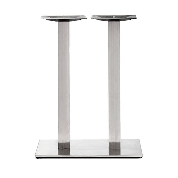 Gietijzeren statafel onderstel DUO vierkant RVS look - 8x8cm - 108 cm hoog - 40x40 cm (voet)plaatafmeting - Gecoat
