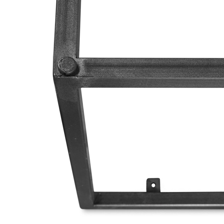 Stalen frame salontafel / bijzettafel- vierkant - diverse lengte / breedtematen - 38 cm - gecoat - stalen koker 20x20 mm -  zwart/blank staal incl. poedercoating transparant