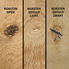Eiken wandplank zwevend - BOOMSTAM RAND / WAANKANT LOOK - op maat - 3 cm dik (1-laag) - rustiek - voorgeboord inclusief (blinde) bevestigingsbeugels - verlijmd Europees rustiek eikenhout geborsteld - kd 8-12% - 15-27x50-300 cm