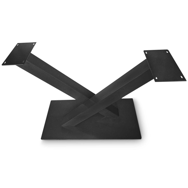 Stalen onderstel V / X poot op voet - 3-DELIG met schroefbevestiging - 10x10 cm - 121 cm breed - 72 cm hoog - 48x98 cm (voet)plaatafmeting - Zwart gecoat staal