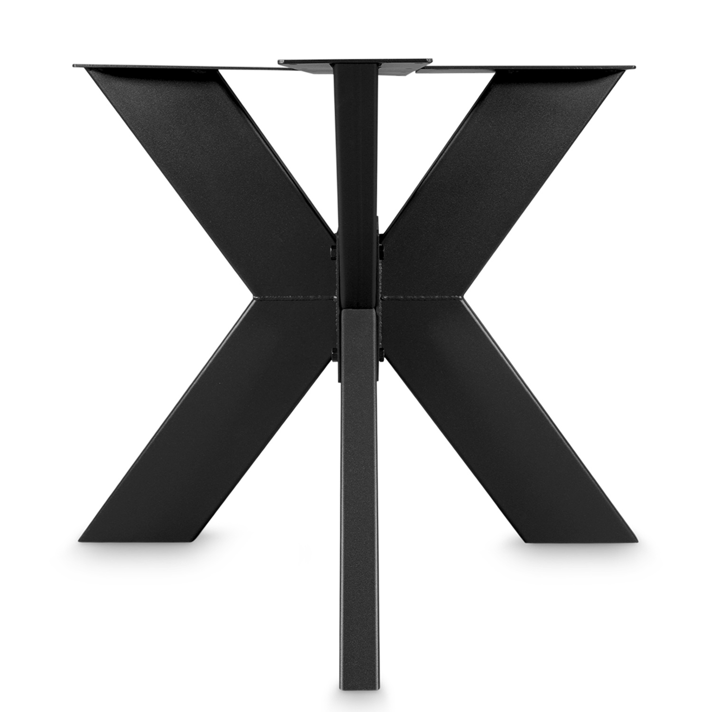 Stalen onderstel Dubbele X ELEGANT (3D) - 3-DELIG met schroefbevestiging - 5x15x0,3cm - 90x90 cm - 72 cm hoog - 3D dubbele kruispoot GEPOEDERCOAT zwart - antraciet - wit - transparant (staal / blank)
