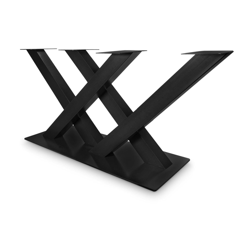 Stalen onderstel dubbele V / X poot op voet - 5-DELIG met schroefbevestiging - 10x10 cm - 180 cm breed - 72 cm hoog - 48x118 cm (voet)plaatafmeting - Zwart gecoat staal