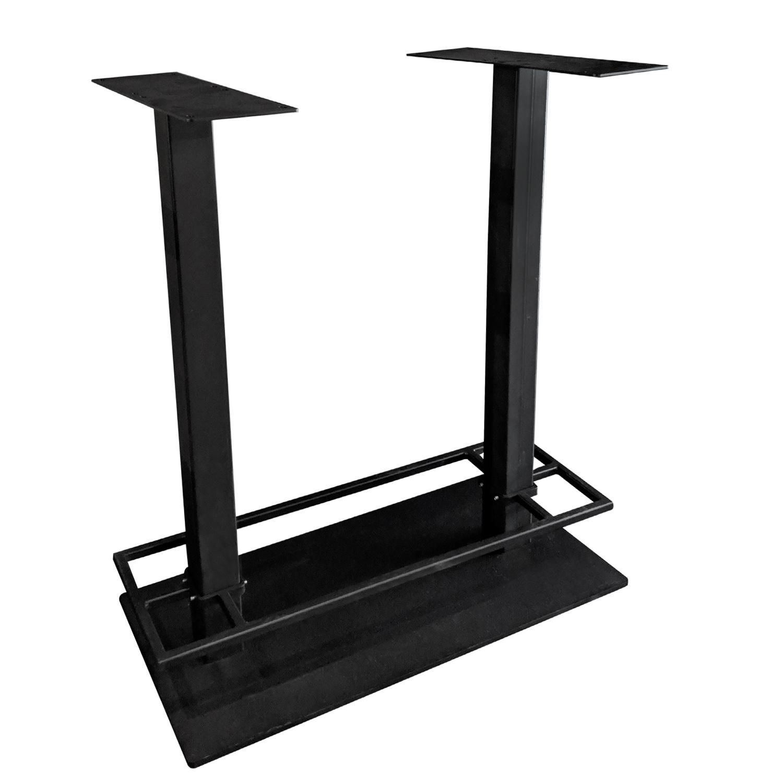 Gietijzeren bartafel onderstel DUO vierkant zwart - op voet - met voetrand - 8x8 cm - 108 cm hoog - 45x98 cm (voet)plaatafmeting - Zwart gecoat (fijnstructuur)