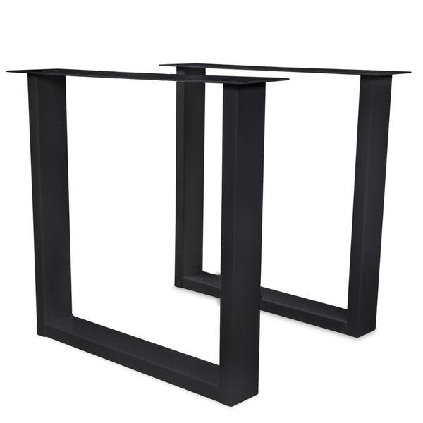 Stalen U-tafelpoten ELEGANT (SET) 4x10cm - 70-78 cm breed - 72 cm hoog - GECOAT