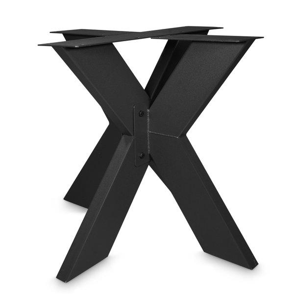 Stalen onderstel Dubbele X ELEGANT (3D) - 3-DELIG - 5x15cm - 90x90 cm - 72 cm hoog - GECOAT