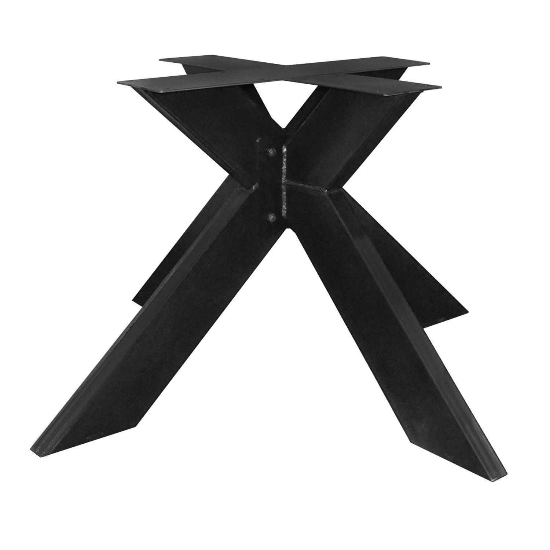 Stalen onderstel Dubbele X ELEGANT (3D) - 3-DELIG met schroefbevestiging - 5x15 cm - 130x130 cm - 72 cm hoog - 3D dubbele kruispoot GEPOEDERCOAT zwart - antraciet - wit