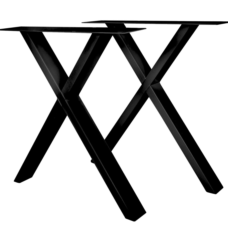 Stalen X-tafelpoten SLANK (SET) 2x10x0,3cm - 78 cm breed - 72 cm hoog - X-poot GEPOEDERCOAT zwart